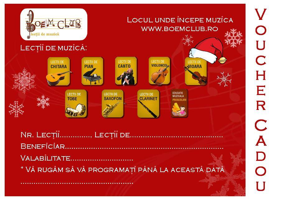 voucher lectii de pian, lectii de chitara, lectii de canto Boem Club